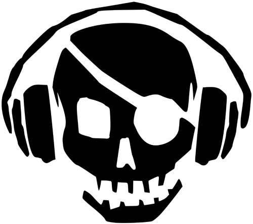Skull Music Pirate Stickers