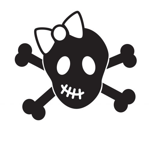 Cute Girl Skull And Crossbones Sticker - Click Image to Close