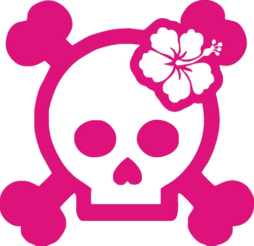 Girl Skull With Hibiscus Sticker