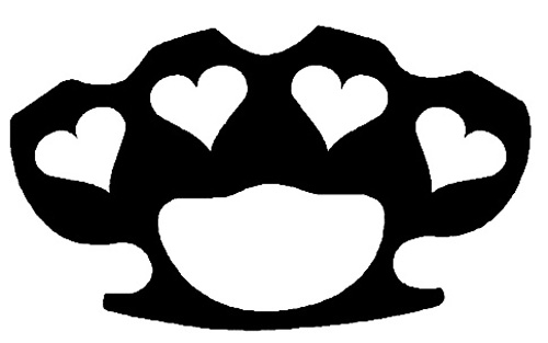 Heart Brass Knuckles Sticker