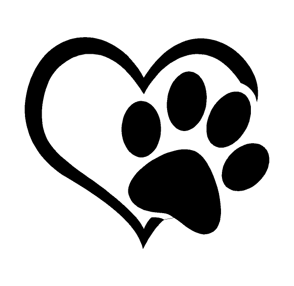 Heart with Dog Paw Sticker Decal