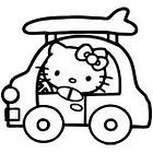 Hello Kitty Car And Surf Sticker