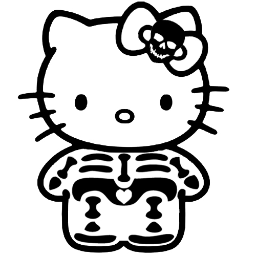 Hello Kitty Skeleton Sticker