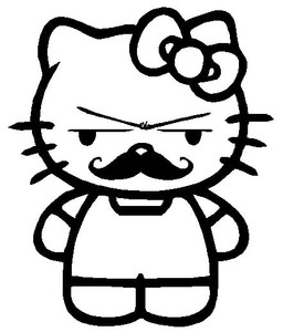 Hello Kitty Mustache Sticker