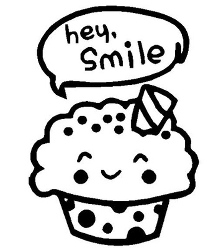 Hey Smile Cupcake Sticker