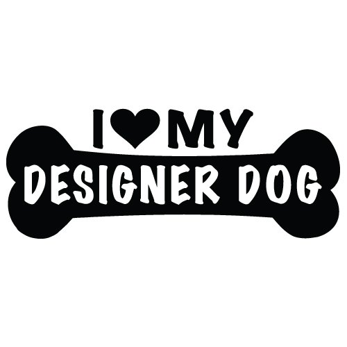 I Love My Designer Dog Sticker Decal