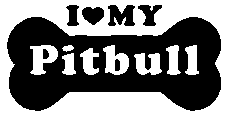 I love my pitbull dog bone Sticker Decal
