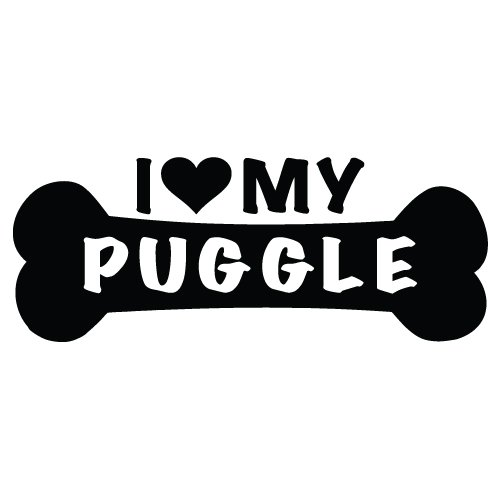 I Love My Puggle Dog Sticker Decal