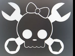 Skull Girl Crossbone Wrench Sticker