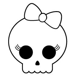 Skull Girl With Bow Sticker