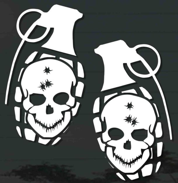 Skull Grenade Sticker Set