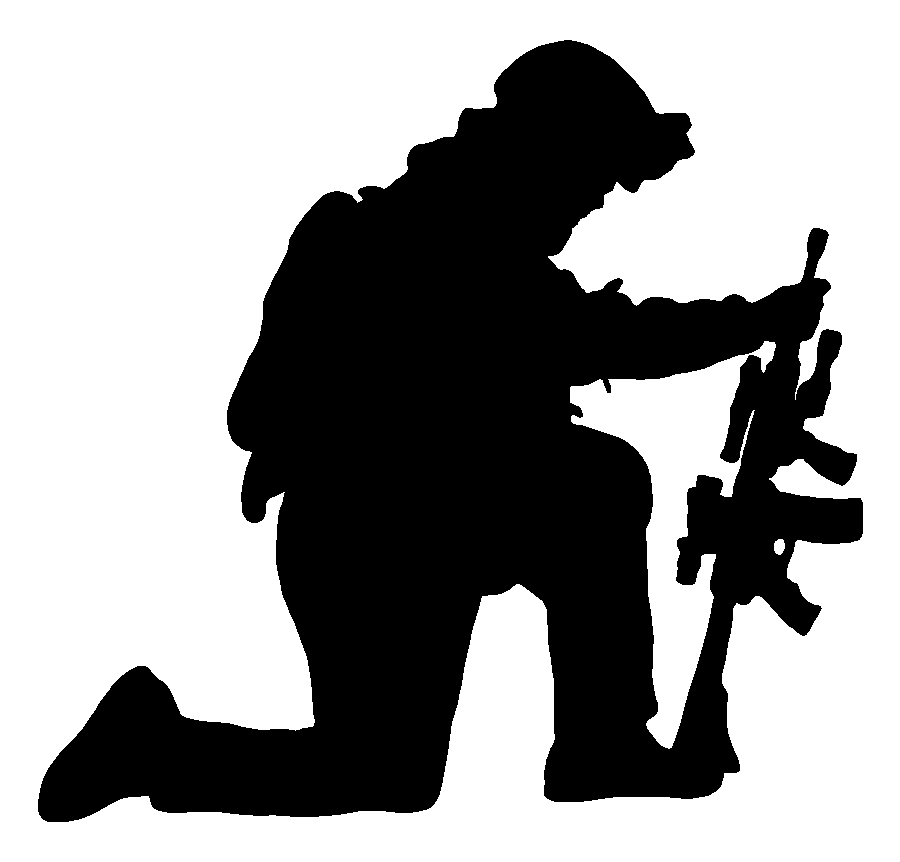 Kneeling Soldier Gun Sticker