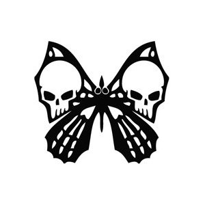 Tribal Skull Butterfly Sticker